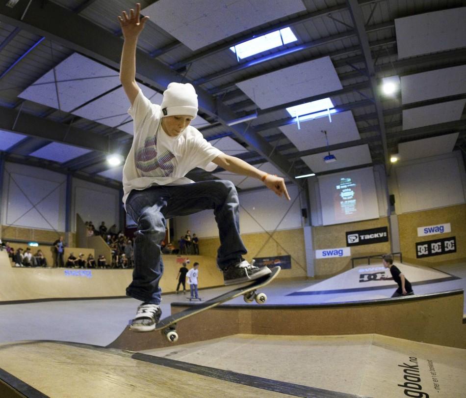 NM i skateboard i fysak hallen på Slettebakken. Sebastian Bergesen. Foto: Bjørn Erik Larsen/Bergens Tidende
