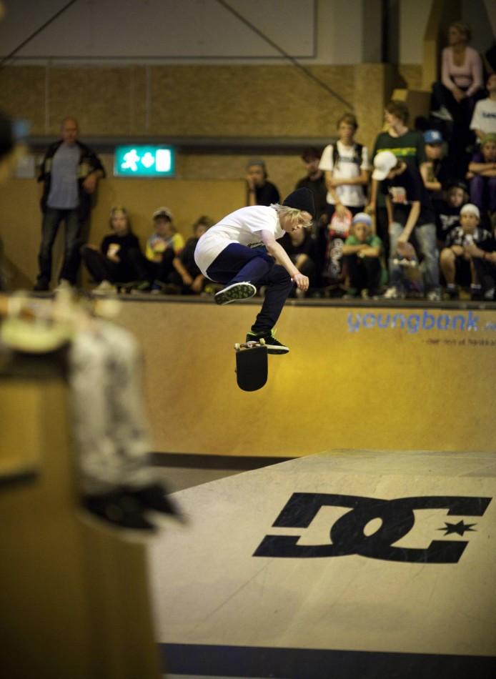 NM i skateboard i fysak hallen på Slettebakken. Sebastian Aas. Foto: Bjørn Erik Larsen/Bergens Tidende
